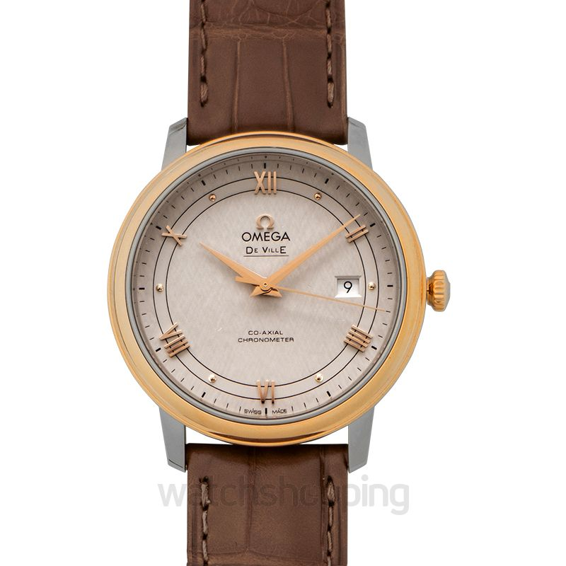 Omega De Ville Prestige Co‑Axial 39.5mm Automatic Silver Dial Red Gold Men's Watch