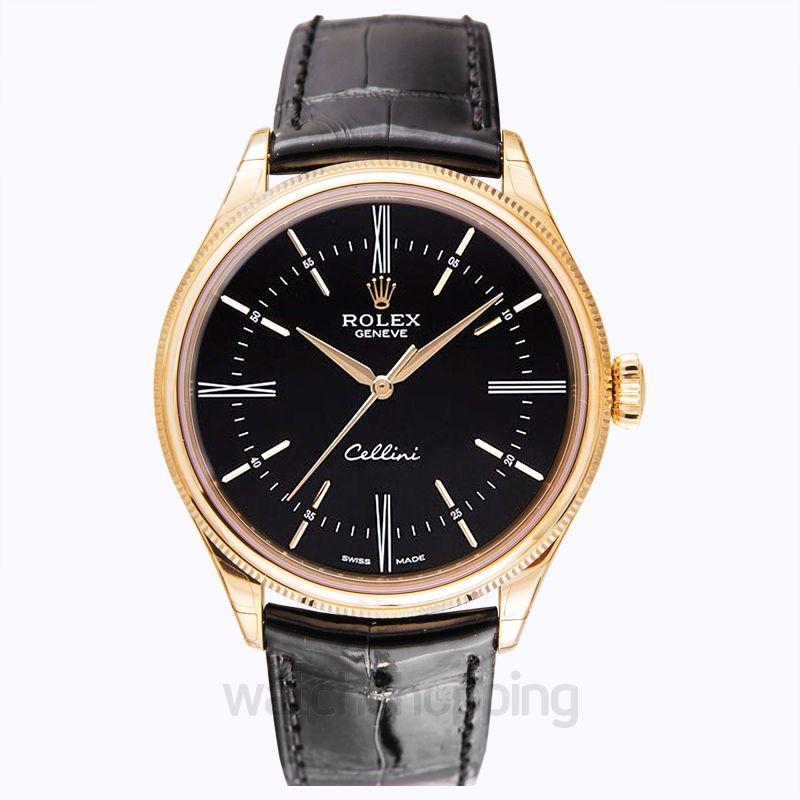 Rolex Rolex Cellini Black Dial 18 Carat Everose Gold Automatic Men's Watch 50505BKSL