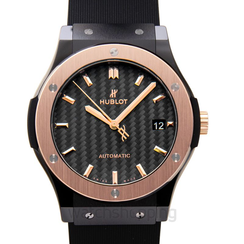 Hublot Classic Fusion Ceramic King Gold Automatic Black Dial Men's Watch