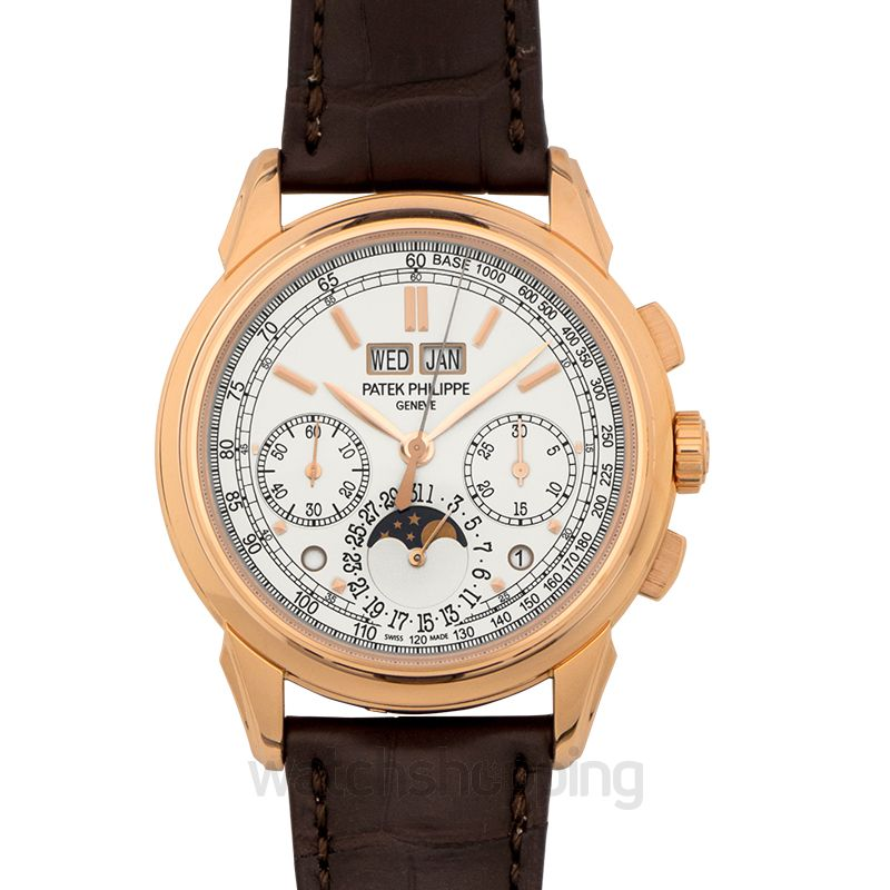 Patek Philippe Grand Complications 18K Rose Gold Silver/Leather 41mm