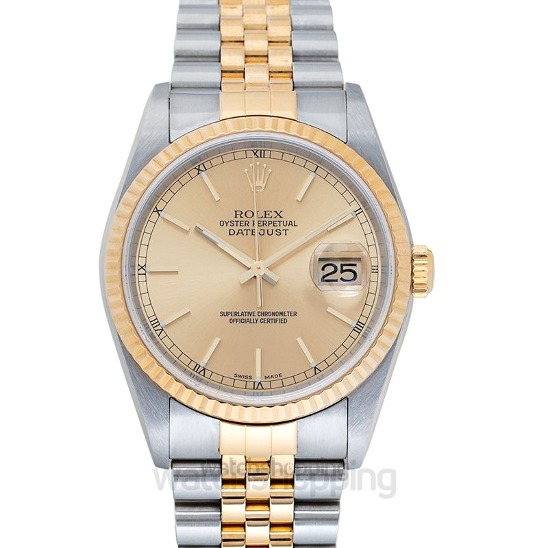 Rolex Datejust Champagne Gold Bar Index  SS/YG Oyster Ø36mm