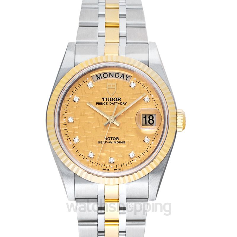 Tudor Prince Day Date Steel Automatic Gold Dial Diamonds Men's Watch