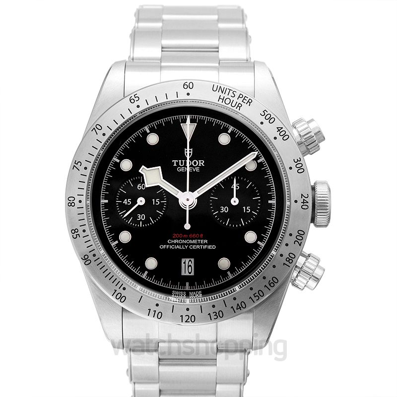 Tudor Heritage BlackBay Chrono Chronograph Stainless Steel Automatic Black Dial Men's Watch