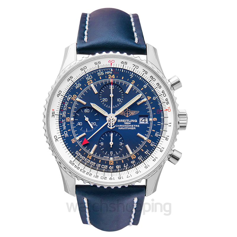 Navitimer 1 Chronograph Gmt 46 Blue Steel Leather 46mm