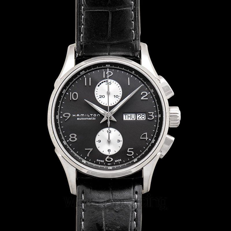 7cf95ae5d50 New Jazzmaster Maestro Auto Chrono Black Steel Leather 41mm H32576785  Hamilton Jazzmaster Watch