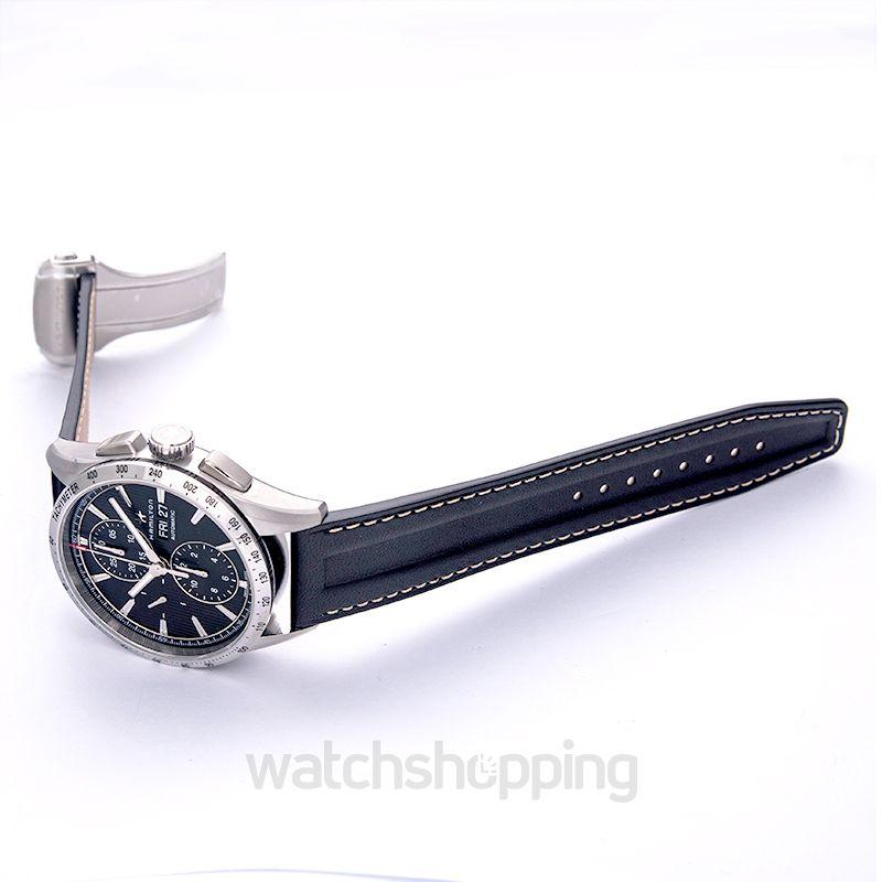40c0edb6c ... Hamilton Hamilton Broadway Auto Chrono Grey Dial Leather Men's Watch  H43516731 image 2 ...