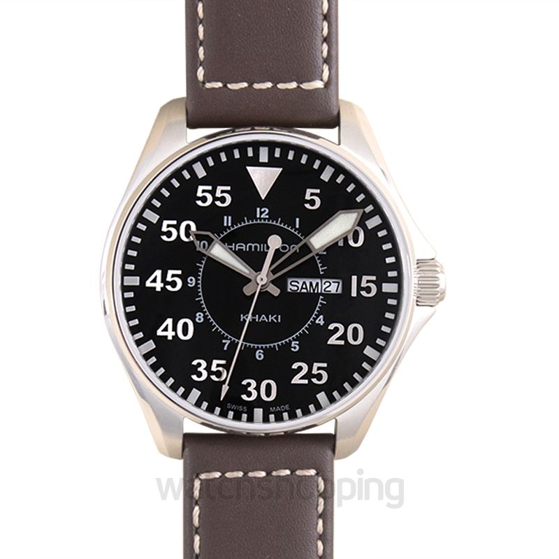 Hamilton Khaki Aviation Quartz Black Dial Stainless Steel Men's Watch