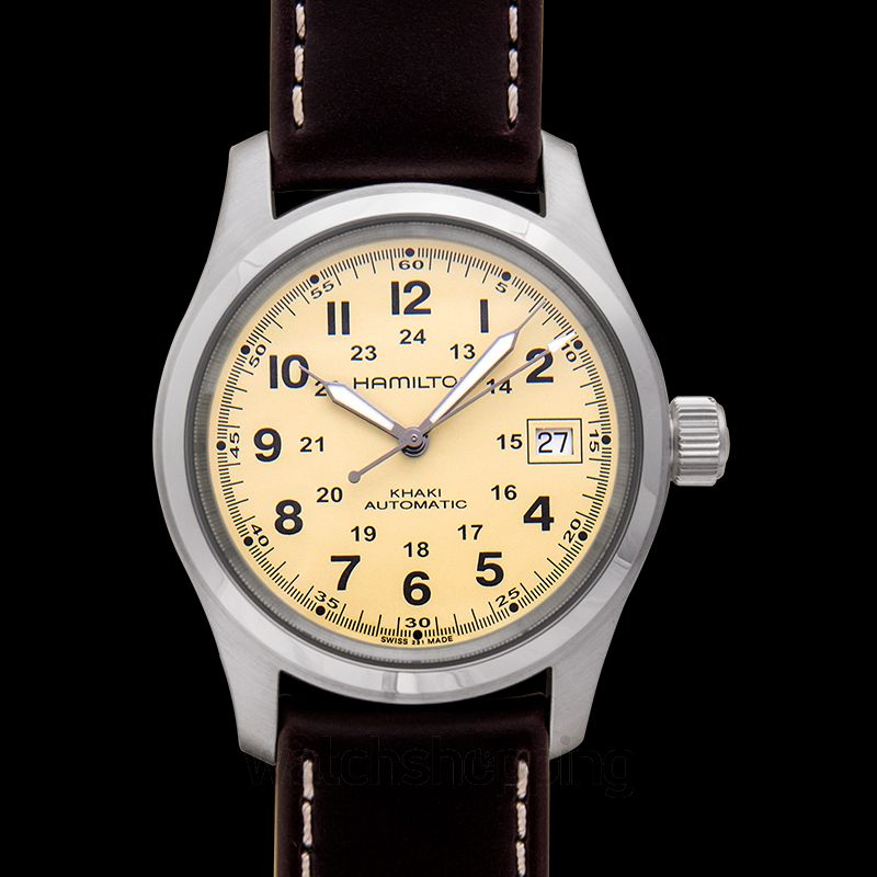 07a05ba9edd New Hamilton Khaki Field Automatic Beige Dial Men s Watch H70555523  H70455523 Hamilton Khaki Field Watch