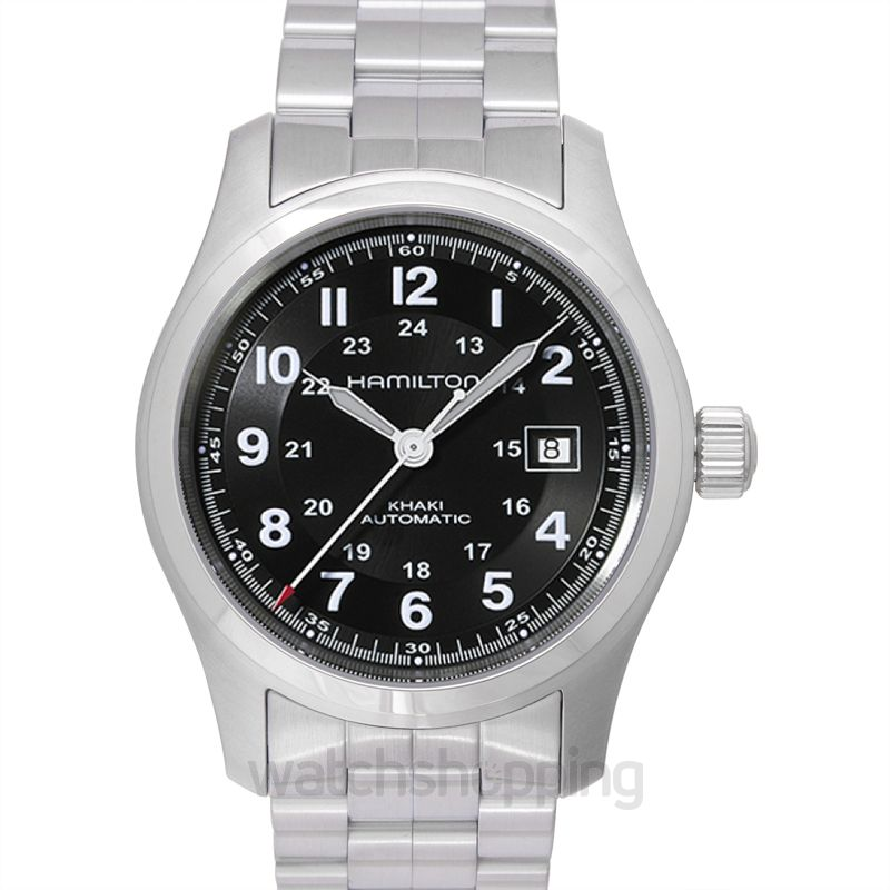 Hamilton Khaki Field Automatic Black Dial Brushed Stainless Steel Men's Watch