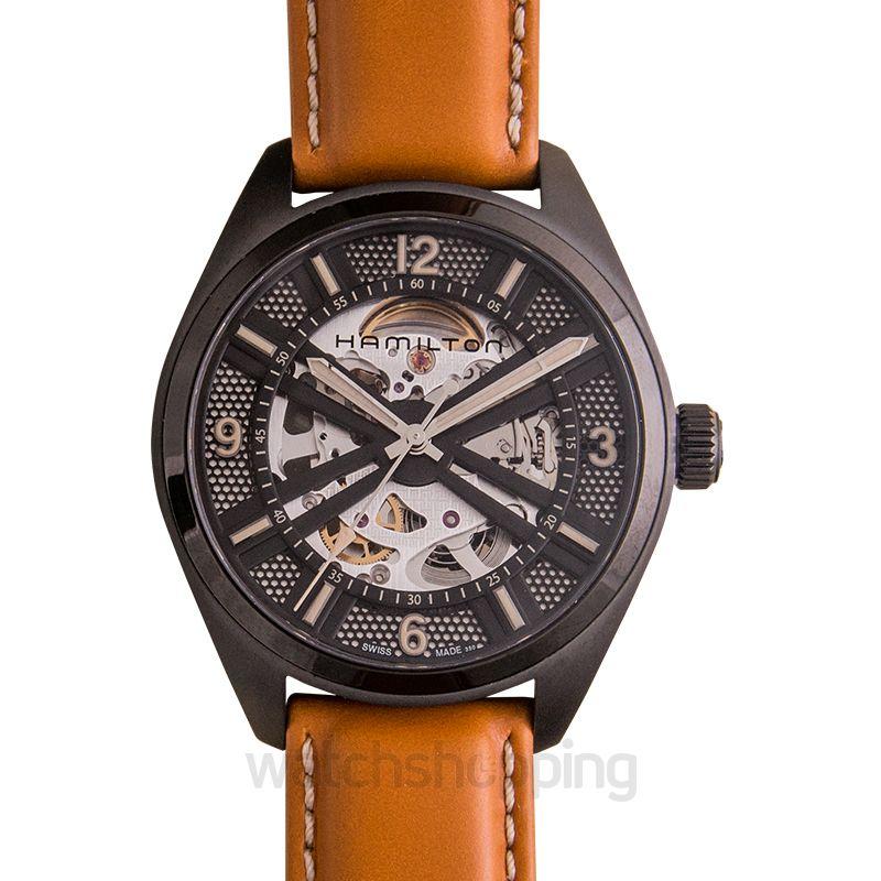 cc23242d8 Hamilton Khaki Field Skeleton Dial Brown Leather Men's Watch image 1 ...