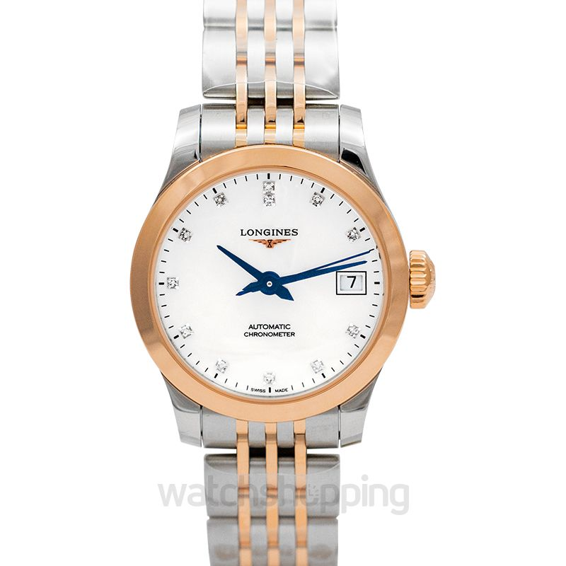 Longines Record Automatic Mother of pearl Dial Diamond Ladies Watch