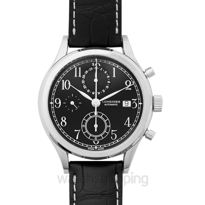 Longines Heritage Automatic Black Dial Chronograph Men's Watch