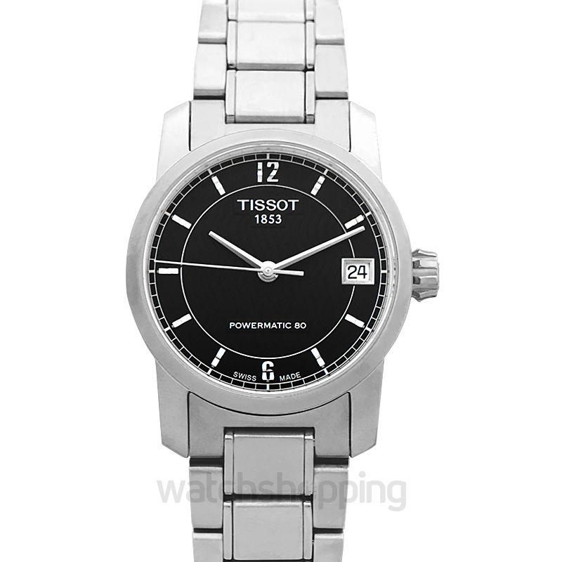 Tissot T-Classic Automatic Black Dial Titanium Ladies Watch