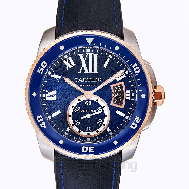 Cartier Calibre de Cartier 42.00 mm Automatic Blue Dial Stainless steel,Pink gold Men's Watch