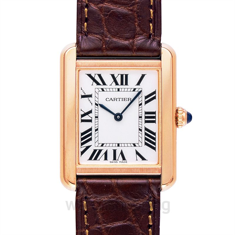 Cartier Tank Solo 31 mm x 24.4 mm Quartz Silver Dial 18kt Rose Gold and Stainless Steel Ladies Watch