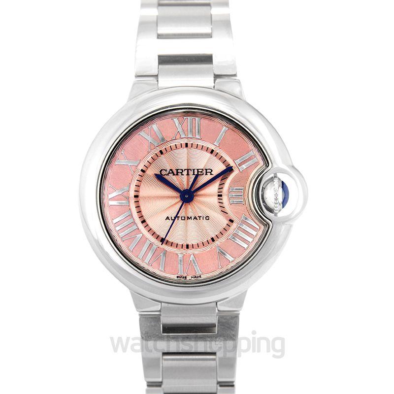 Cartier Ballon Bleu Pink Dial Stainless Steel Automatic Ladies Watch