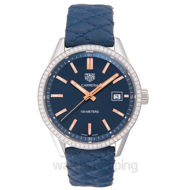 TAG Heuer Carrera Quartz Blue Dial with Diamonds Bezel Ladies Watch