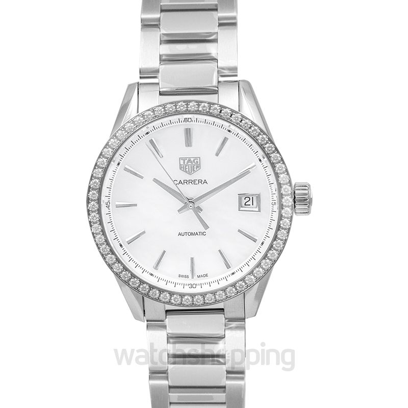 TAG Heuer Carrera Calibre 5 Ladies Automatic White Dial with Diamonds Bezel Ladies Watch