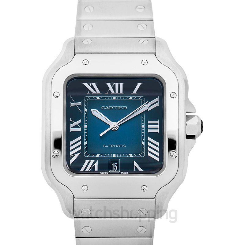 Santos de Cartier 39 8 mm Automatic Blue Dial Steel case Men's Watch