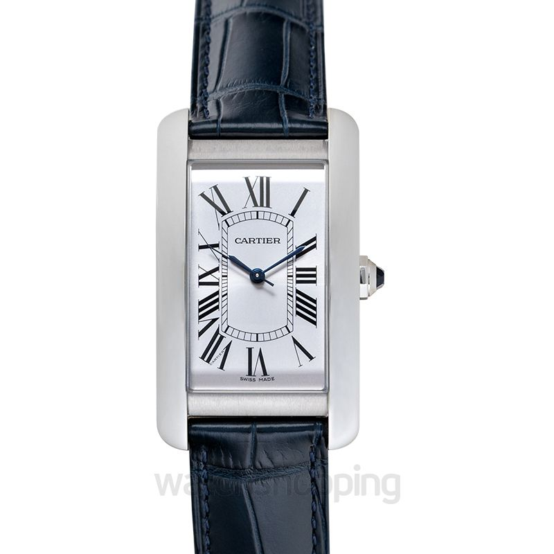 Cartier Tank Américaine 34.80 mm x 19 mm Quartz Silver Dial Stainless Steel Ladies Watch