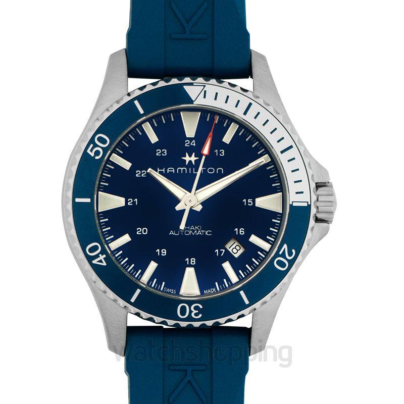 Khaki Navy Automatic Blue Dial Men S Rubber Watch
