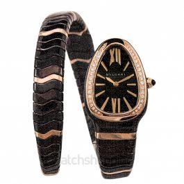 Serpenti Spiga Quartz Brown Dial Diamond Bezel Ladies Watch
