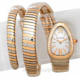 Serpenti Tubogas Quartz White Dial Diamond Bezel Ladies Watch