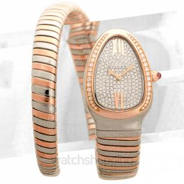 Serpenti Tubogas Quartz Diamond Paved Dial Diamond Bezel Ladies Watch