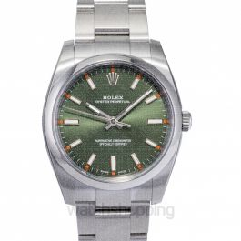 Oyster Perpetual 34 Green Olive Dial Stainless Steel Bracelet Automatic Unisex Watch