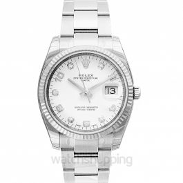 Oyster Perpetual Date 34 Stainless Steel Fluted / Oyster / White Arabic Diamond
