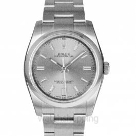 Rolex Oyster Perpetual 36 mm Rhodium Dial Stainless Steel Bracelet Automatic Men's Watch 116000RSO
