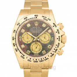 Cosmograph Daytona  18ct Yellow Gold Automatic Black Mother Of Pearl Dial Diamonds Men's Watch