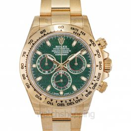 Rolex Cosmograph Daytona Green Dial 18K Yellow Gold Oyster Men's Watch 116508GRSO