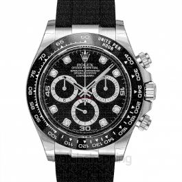 Cosmograph Daytona 18ct White Gold Automatic Black Dial Diamonds Men's Watch