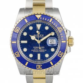 Submariner 18K Yellow Gold Automatic Blue Dial Men's Watch