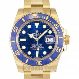 Submariner 18K Yellow Gold Oyster Bracelet Automatic Blue Dial Men's Watch