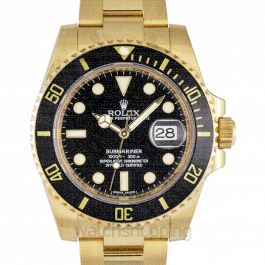 Submariner Date Yellow Gold Automatic Black Dial Men's Watch