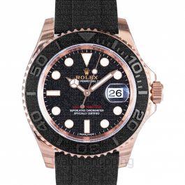 Rolex Yacht-Master Automatic Black Dial 18kt Everose Gold Black Rubber Strap Men's Watch 116655BKSRS