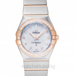 Constellation Quartz White Dial Diamond Red Gold Ladies Watch