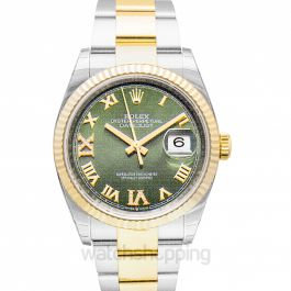 Datejust 36 Stainless Steel / Yellow Gold / Fluted / Olive Green Roman / Oyster
