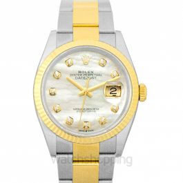 Datejust 36 White mother-of-pearl set with diamonds Dial Fluted Bezel Oyster Yewllow Gold Two Tone Watch  36mm