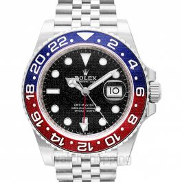 GMT Master II Pepsi Blue and Red Bezel Stainless Steel Automatic Black Dial Men's Watch