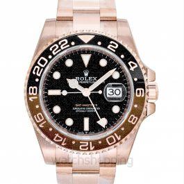 GMT Master II Black & Brown Bezel Everose Gold Automatic Black Dial Men's Watch