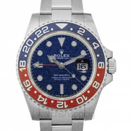 GMT Master II Pepsi Blue and Red Bezel White Gold Automatic Blue Dial Men's Watch
