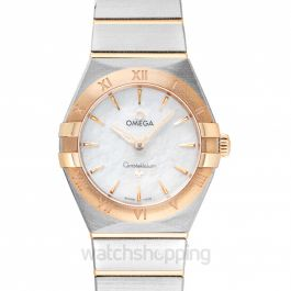 Constellation Manhattan Quartz 28 mm Quartz White Mother Of Pearl Dial Yellow Gold Ladies Watch