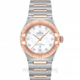 Constellation Manhattan Co‑Axial Master Chronometer 29 mm Automatic White Dial Gold Ladies Watch