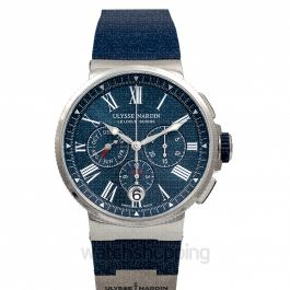 Marine Chronograph Stainless Steel Automatic Blue Dial Men's Watch