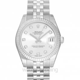 Datejust 31 Steel And 18ct White Gold Automatic Silver Diamond Dial Ladies Watch
