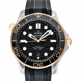 Seamaster Diver 300 M Co‑Axial Master Chronometer 42 mm Automatic Black Dial Yellow Gold Men's Watch