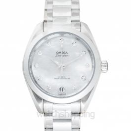 Seamaster Aqua Terra 150M Co‑Axial Master Chronometer 34 mm Automatic White Mother Of Pearl Dial Diamonds Ladies Watch
